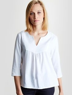 Blouse romantique femme - blanc / brodé blanc