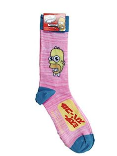 The Simpsons Homer Simpson Pink Crew Socks Planet Sox http://amzn.to/2oMSI6z