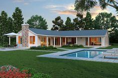 Casa sencilla y moderna con amplios ventanales de 2 dormitorios