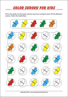 Printable Color Sudoku for kids with solution Patterning Kindergarten, Kindergarten Worksheets, Learning Numbers Preschool, Free Printable Puzzles, Black Wallpaper Iphone, Vocabulary Cards, Coloring For Kids, Kids Education, Printables