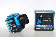 Vintage Rare Waterman Ink Bottle Bleu des Mers du Sud by Inklinks