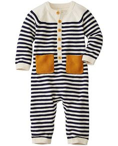 Cashmere-touched yarns work their magic for a supersoft touch in this one and done romper...just about the easiest way ever to keep littles cozy, comlete with signature stripes and color-happy pockets to keep everyone smiling.