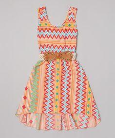 Love this Coral Zigzag Stripe Belted Dress by Just Kids on #zulily! #zulilyfinds