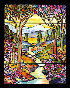 Title Stained Glass Tiffany Red Hollyhocks In Landscape In ...