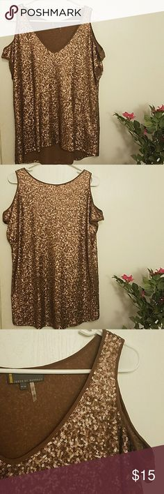 Metallic Bronze Sequined Top *FINAL MARKDOWN* - Fabulous + glamorous for a party/night out - Cold-shoulder style - High-low length - Good condition; worn about twice; sequins fully intact * Warning: Sequins may scratch when changing in/out. Pretty annoying; beauty is pain, haha. * Smoke-free/pet-free home :) Jeans by Buffalo Tops