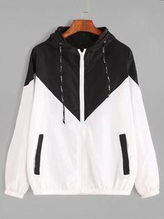 super popular 77954 89fd8 Contrast Drawstring Hooded Zip Up Jacket Ropa Linda, Camisetas, Sudaderas,  Capucha, Ropa