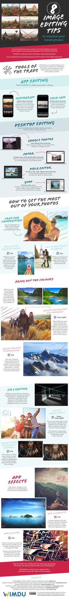 8 Image Editing Tips to Improve Your Travel Photos  [by Wimdu -- via #tipsographic]. More at tipsographic.com