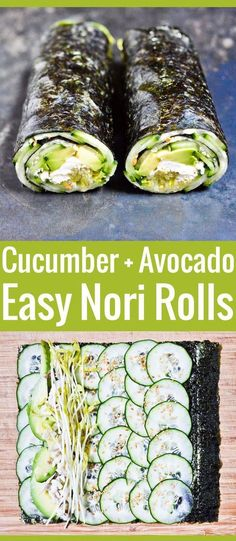 Cucumber and Avocado Quick Nori Roll Recipe - Welcome back, mate! Right now I'll share about fully magnificent Avocado recipes ! > You Must Click It For Specific Clue > we're hope you enjoy it you like it . Keto Avocado, Avocado Salat, Avocado Toast, Cucumber Avocado Rolls, Healthy Diet Recipes, Vegan Recipes, Cooking Recipes, Avocado Recipes Vegetarian, Vegetarian Sushi Rolls
