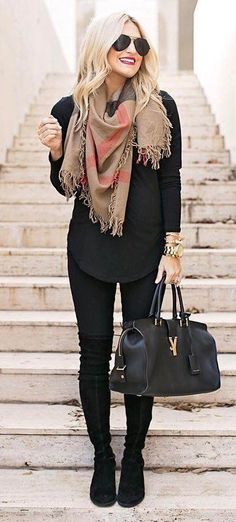 what to wear with a scarf | black shirt + bag + skinny pants + over the knee boots