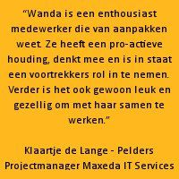 Recommendation van Klaartje de Lange - Pelders | Projectmanager Maxeda IT Services