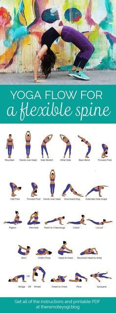 Easy Yoga Workout - Yoga Flow for a Flexible, Bendy Spine - FREE PDF Print out this yoga flow and do it at home to promote a healthy spine and increase mobility. This one is challenging and sure to get the body fired up! #YogaforFlexibility #SpineHealth Get your sexiest body ever without,crunches,cardio,or ever setting foot in a gym