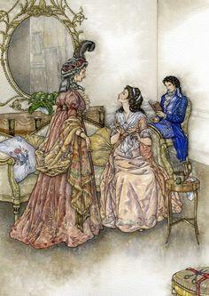 """Pride and Prejudice"" - Jane Asten - Ill. Elizabeth Gaskell, Elizabeth Bennet, Charlotte Bronte, Regency Fashion, Jane Austen Movies, Fairytale Art, Pride And Prejudice, Illustrators, Fairy Tales"