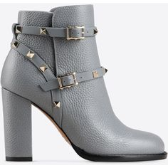 Valentino Garavani Rockstud Ankle Boot (30035 NIO) ❤ liked on Polyvore featuring shoes, boots, ankle booties, grey, high heel boots, gray boots, grey high heel boots, studded ankle boots and grey bootie