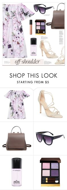 """""""Off-shoulder-dress"""" by mycherryblossom ❤ liked on Polyvore featuring Schutz, MAC Cosmetics, Tom Ford, Bare Escentuals and vintage"""