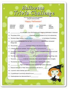 Halloween trivia challenge game printable for children parties.