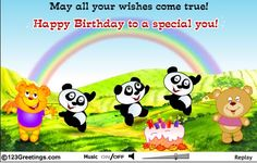 Happy birthday with teddies and pandas