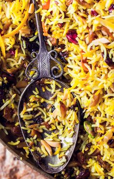 Rice Jeweled Rice recipe: This is as delicious as it is gorgeous.Jeweled Rice recipe: This is as delicious as it is gorgeous. Rice Recipes, Cooking Recipes, Vegetarian Cooking, Almond Recipes, Greek Recipes, Cooking Tips, Dessert Recipes, Frijoles, Middle Eastern Recipes