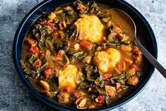 Collard Green Soup, Collard Greens Recipe, Cornmeal Dumplings, Spicy Soup, Fire Roasted Tomatoes, Soups And Stews, Soup Recipes, Cajun Recipes, Oven Recipes