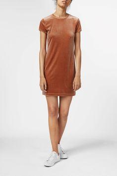 Weekday Fray Short Sleeve Dress in Orange Yellowish Dark