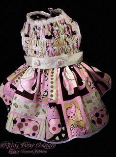 Pink Elephants Couture Dog  Dress  Pearls  by tinypawscouture, $75.00
