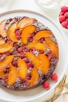 Peach Upside Down Cake with Raspberries