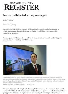 TRI Pointe Homes Merger OC Register