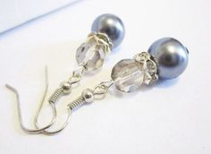 Bridal Jewelry Wedding Pearl Dangle Earrings Gray by SLDesignsHBJ