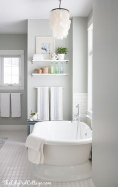 TUB, Arctic Gray - Cottage - bathroom - Benjamin Moore Arctic - Gray - The Lily… bathroom wall color Bad Inspiration, Bathroom Inspiration, Benjamin Moore Grey Owl, Benjamin Moore Horizon, Diy Bathroom Decor, Bathroom Ideas, Bathroom Renovations, Owl Bathroom, Restroom Decoration