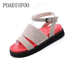 11.94$  Buy now - POADISFOO 2017 summer new  fashion exposed toe with a low color classic  sandals students casual women's sandals .CBSL-PF07  #magazine