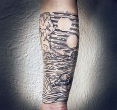Mens Ocean Waves Woodcut Inner Forearm Sleeve Tattoo