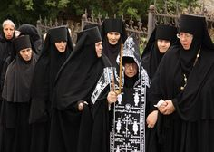 Orthodox nuns (the one in the middle is Schema-nun Agnes)