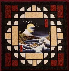 Full Moon over Mt. Fuji, by Cary Flanagan    I want to make a quilt one day.  Of course it will have a Japanese design.  I even have a central panel of Mt. Fuji.