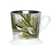 C.R. Gibson Chickadee Porcelain Holiday Coffee Mug, Green/White