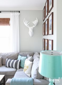 Spring Living Room | gray and turquoise inspired living room for spring.