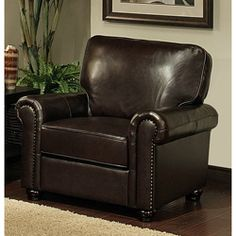 @Overstock - Abbyson Living London Premium Top-grain Leather armchair. Update your living room or office with this brown leather armchair. This sophisticated chair is constructed from kiln-dried hardwood and features a double-doweled frame, padded arms, hand-tied spring suspension, and plush foam cushioning.http://www.overstock.com/Home-Garden/Abbyson-Living-London-Premium-Top-grain-Leather-Armchair/5310037/product.html?CID=214117 $669.99