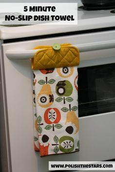 Awesome idea: 5 Minute No-Slip Dish Towel Though I'm still afraid to bring out my sewing machine. lol