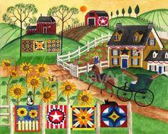 Cheryl Bartley Folk Art: Country Sunflower Quilt Farm
