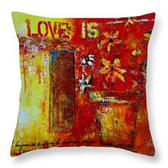 Love Is Throw Pillow featuring the painting Love Is Abstract modern accents for your home decor by Patricia Awapara