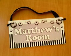 Your place to buy and sell all things handmade Nursery Signs, Nursery Room Decor, Soccer Boys, Football Soccer, Door Signs, Kids Room, Doors, Black And White, Handmade Gifts