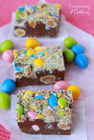 Reese's Pieces Egg Fudge- only three ingredients! {couponingncooking.com}