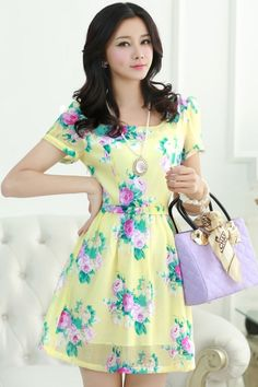 Female-chic Floral Print Satin Mini Dress