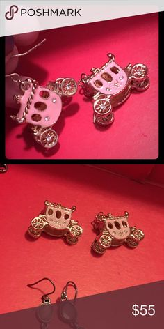 Betsey Johnson pale pink gold carriage earrings These beauties are fit for Cinderella👑 pale princess pink with gold and crystal accents. Gold hooks, wheels and detailing. Betsey Johnson and hard to find. Willing to part with them for the right price 💕 Betsey Johnson Jewelry Earrings