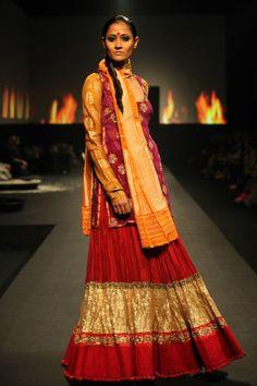 Ritu Kumar's 'Panchvastra' Collection - Asian Wedding Ideas Anarkali, Lehenga Skirt, Red Lehenga, Sharara, Lehenga Choli, Ritu Kumar, Indian Attire, Indian Suits, Desi Wear