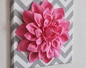 "Rainnie Neufeld- so cute for baby H-   Wall Flower -Light Pink Dahlia on Gray and White Chevron 12 x12"" Canvas Wall Art- Baby Nursery Wall Decor-. $34.00, via Etsy."
