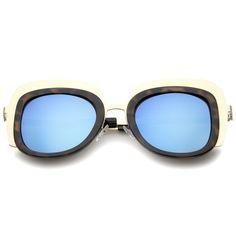 Oversize Metal Frame Border Colored Mirror Lens Square Sunglasses 43mm