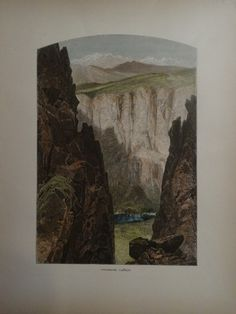 Hand colored wood engraving of Palisade Canyon, 1873. 9.75″ x 12.5″ $65.