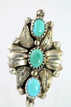 Vintage Navajo Sterling Silver Turquoise Ring Size 7 75 Lloyd Bencenti | eBay