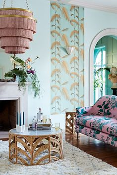 Bright & Buzzy Anthropologie Home Arrivals - Thou Swell - Spring home decor arrivals from Anthropologie on Thou Swell - Interior Modern, Home Interior, Apartment Interior, Colorful Interior Design, Interior Ideas, Home Design, Design Homes, Anthropologie Home, Anthropologie Furniture