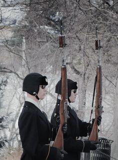 Honor Guard at Tomb of The Unknown Solder Arlington National Cemetery snow storm