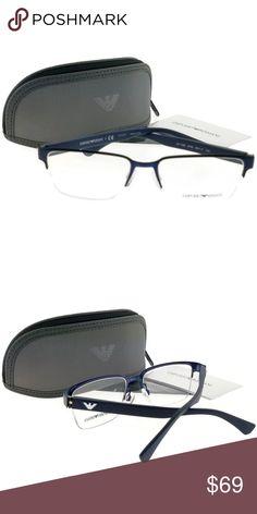8dc8282d08 EA1055-3163-53 Rectangle Men Blue Frame Eyeglasses New gorgeous authentic  Emporio Armani EA1055